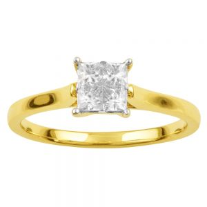 SEAMLESS LOVE  9ct Yellow Gold Princess Cut Ring with 1/2 Carat of Diamonds
