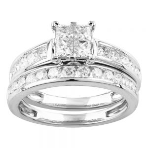 SEAMLESS LOVE  9ct White Gold Bridal Set Ring with 1.20 Carat of Diamonds
