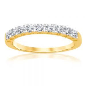 Luminesce Lab Grown 9ct Yellow Gold 1/2 Carat Diamond Eternity Ring with 9 Diamonds