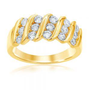 Luminesce Lab Grown 9ct Yellow Gold 1 Carat Diamond Dress Ring with 15 Diamonds