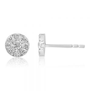 Luminesce Lab Grown 9ct White Gold 1/3 Carat Diamond Stud Earrings with 18 Diamonds