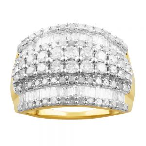 9ct Yellow Gold 2 Carat Diamond Ring with Brilliant and Baguette Cut Diamonds