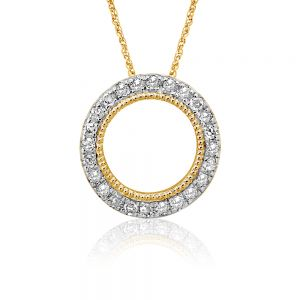 Luminesce Lab Grown 9ct Yellow Gold 0.10 Carat Diamond Circle of Life Pendant