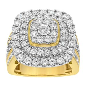 9ct Yellow Gold 3.05 Carat Diamond Ring with Brilliant and Tapered Baguette Diamonds
