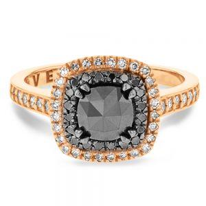 1.30ct Black & White Diamond Halo Ring in 18ct Rose Gold