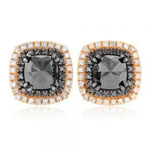 1.90ct Black & White Diamond Halo Stud Earrings in 18ct Rose Gold