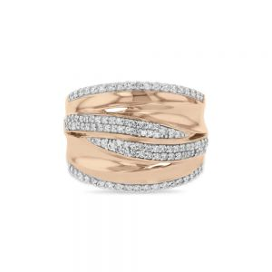 Dramatic Wrap 0.65ct Diamond Pave Ring in 9ct Rose Gold