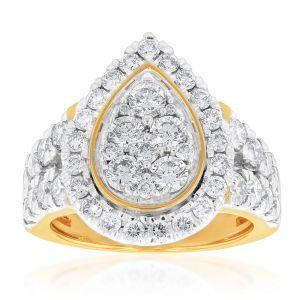 9ct Yellow Gold 3 Carat Diamond Ring with Brilliant Cut Diamonds