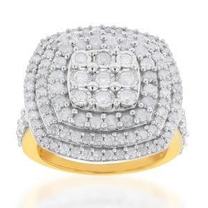 Sterling Silver and 9ct Yellow Gold 2 Carat Diamond Cushion Shape Cluster Ring