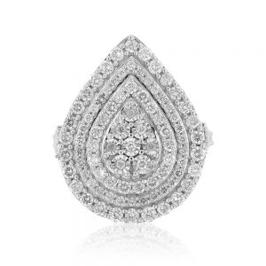 2 Carat Diamond Pear Shaped Cluster Ring Set in Sterling Silver and 9ct Yellow Gold