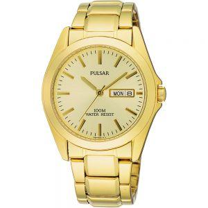 Pulsar PJ6002X WR100 Gold Tone Mens Watch