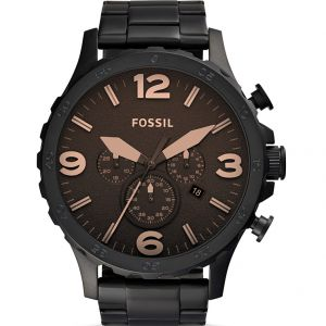 Fossil 'Nate' JR1356 Chronograph Matte Black Stainless Steel Mens Watch