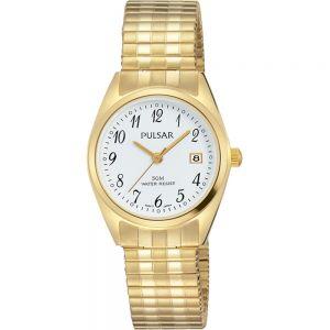 Pulsar PH7444X Gold Tone Stretch Bracelet Womens Watch
