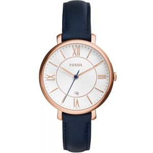 Fossil 'Jacqueline' ES3843 Navy Blue Leather Womens Watch