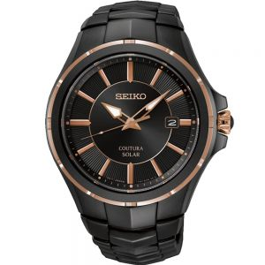 Seiko Coutura SNE516P Stainless Steel Black and Rose Mens Solar Watch