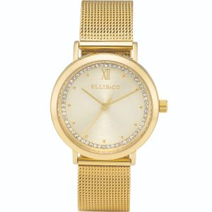 Ellis & Co Akira Gold Stainless Steel Mesh Womens Watch