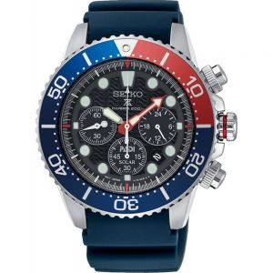 Seiko Pepsi Prospex SSC663P Black Silicone Mens Chronograph Watch