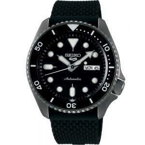 Seiko 5 SRPD65K-2 Automatic Black Silicone  Mens Watch