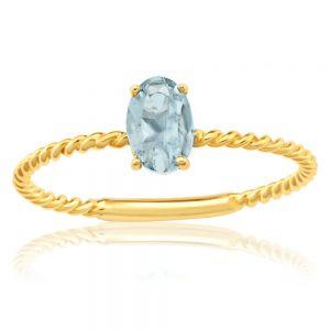 9ct Yellow Gold Natural Aquamarine Ring