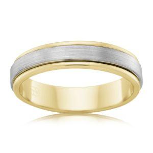 9ct Yellow Gold and Titanium 6.5mm Matt Finish Ring. All Sizes