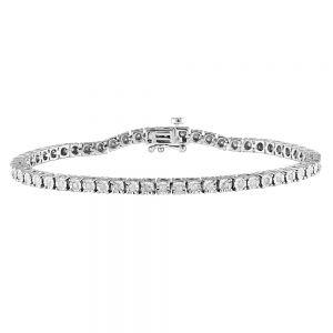 Silver 0.95 Carat Diamond 18.5cm Bracelet