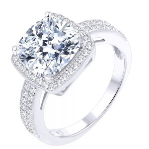 Sterling Silver Halo Cushion Cut Double Channel Ring