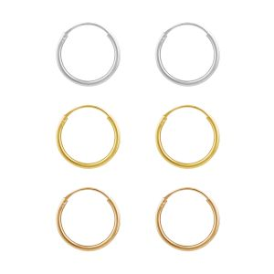 Sterling Silver Gold and Rose Plated Set of 3 12mm Sleeper Earrings