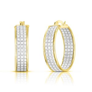 Sterling Silver Gold Plated 3 Row 7mmx25mm Stardust Hoops