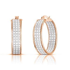 Sterling Silver Rose Plated 3 Row 7mmx25mm Stardust Hoops