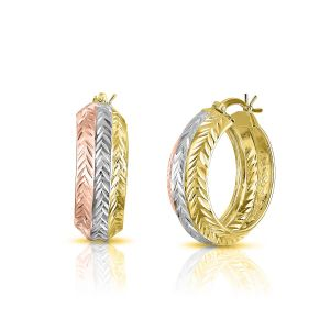 Sterling Silver 9mmx25mm Rose and Gold Plated Patterned Fancy Hoop Earrings