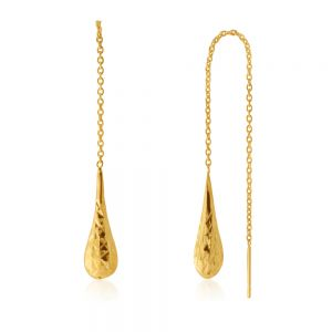 Sterling Silver Gold Plated Threader Bomber Drop Earrings