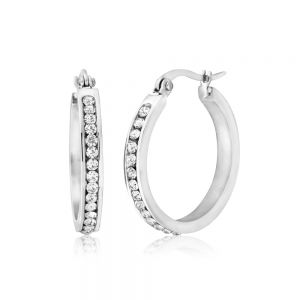Stainless Steel 25mm Full Circle Crystal Hoop Earrings