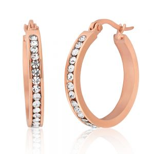 Stainless Steel Rose Gold Plated 25mm Full Circle Crystal Hoop Earrings
