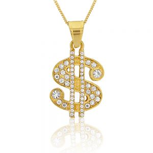 Stainless Steel Gold Plated Crystal Set Dollar Sign