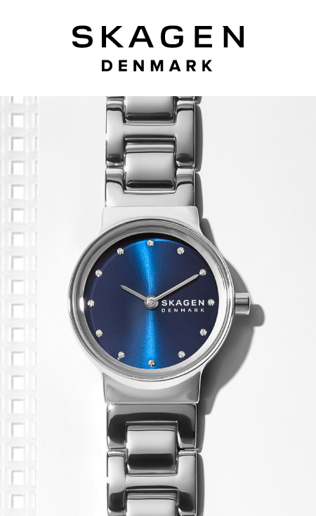 Skagen watches arranged in a rainbow pattern