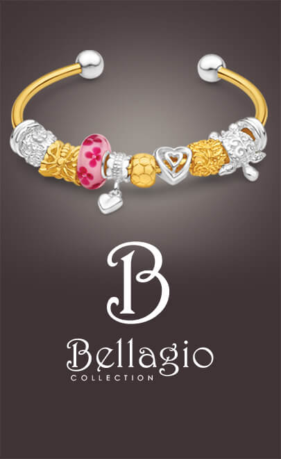 Bellagio brand 9ct gold and silver 10 charms torque bangle