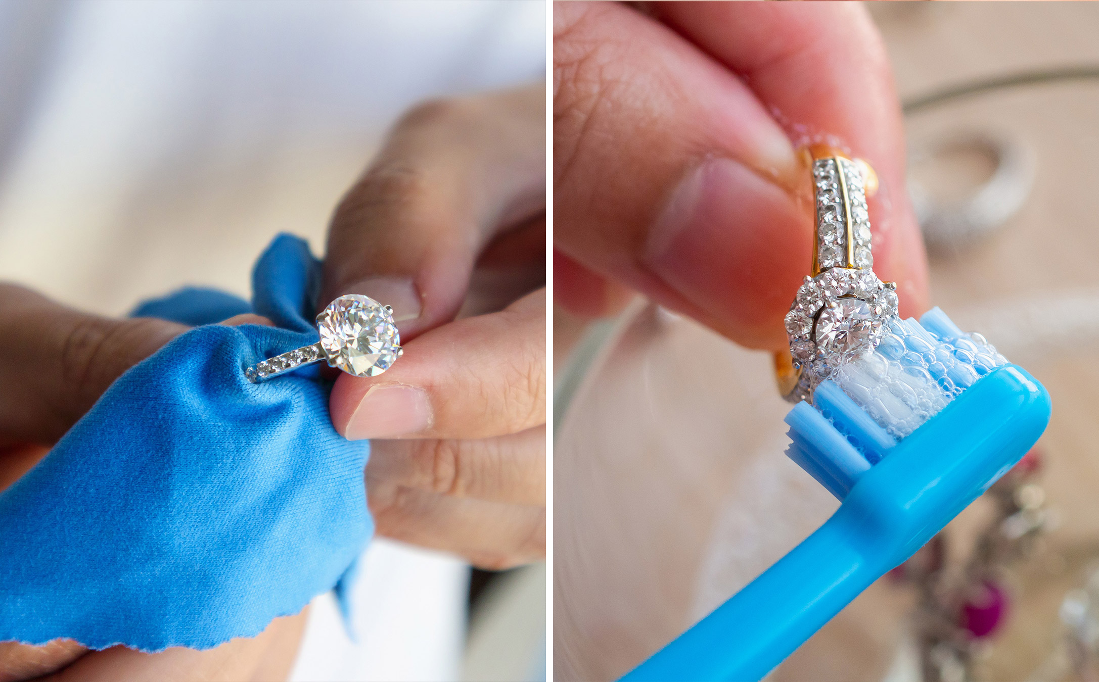 how to make diamonds look bigger: clean them