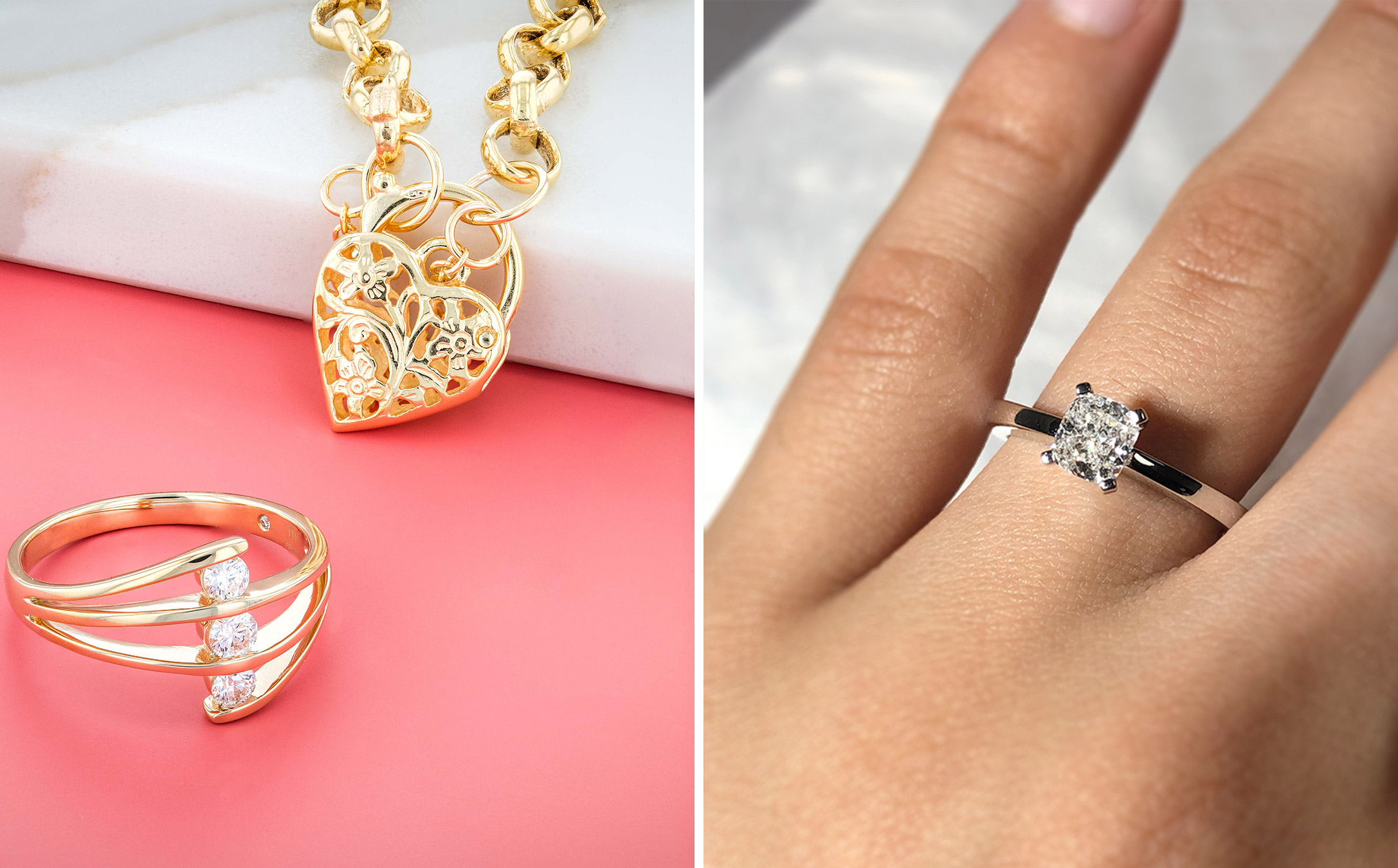 how to make your diamond look bigger: use shiny metals
