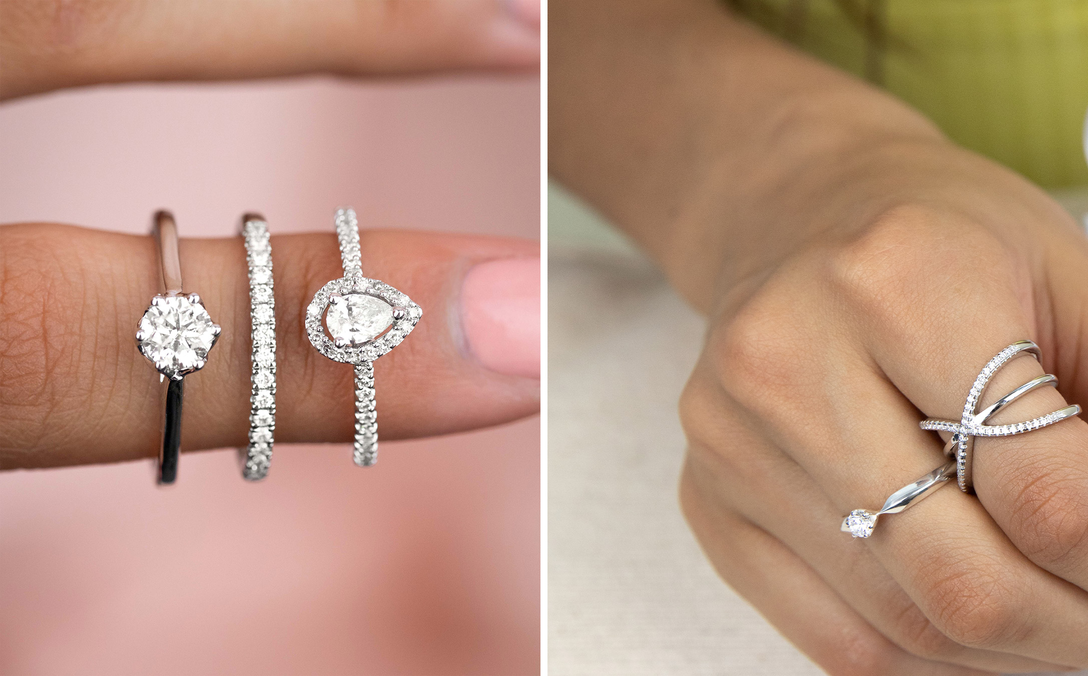 how to wear multiple diamond rings mix ring colours