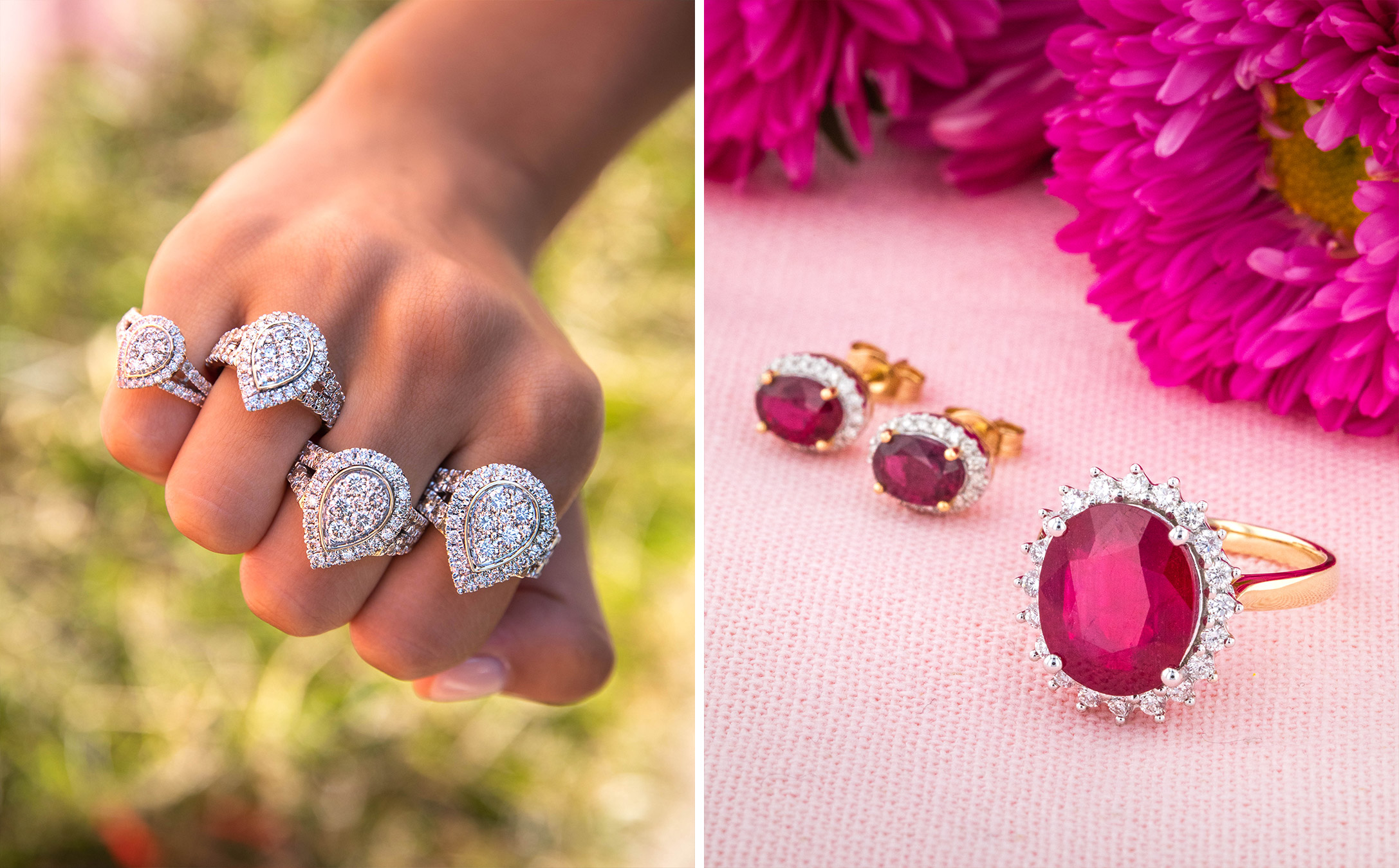 How To Wear Multiple Diamond Rings: stick to one theme