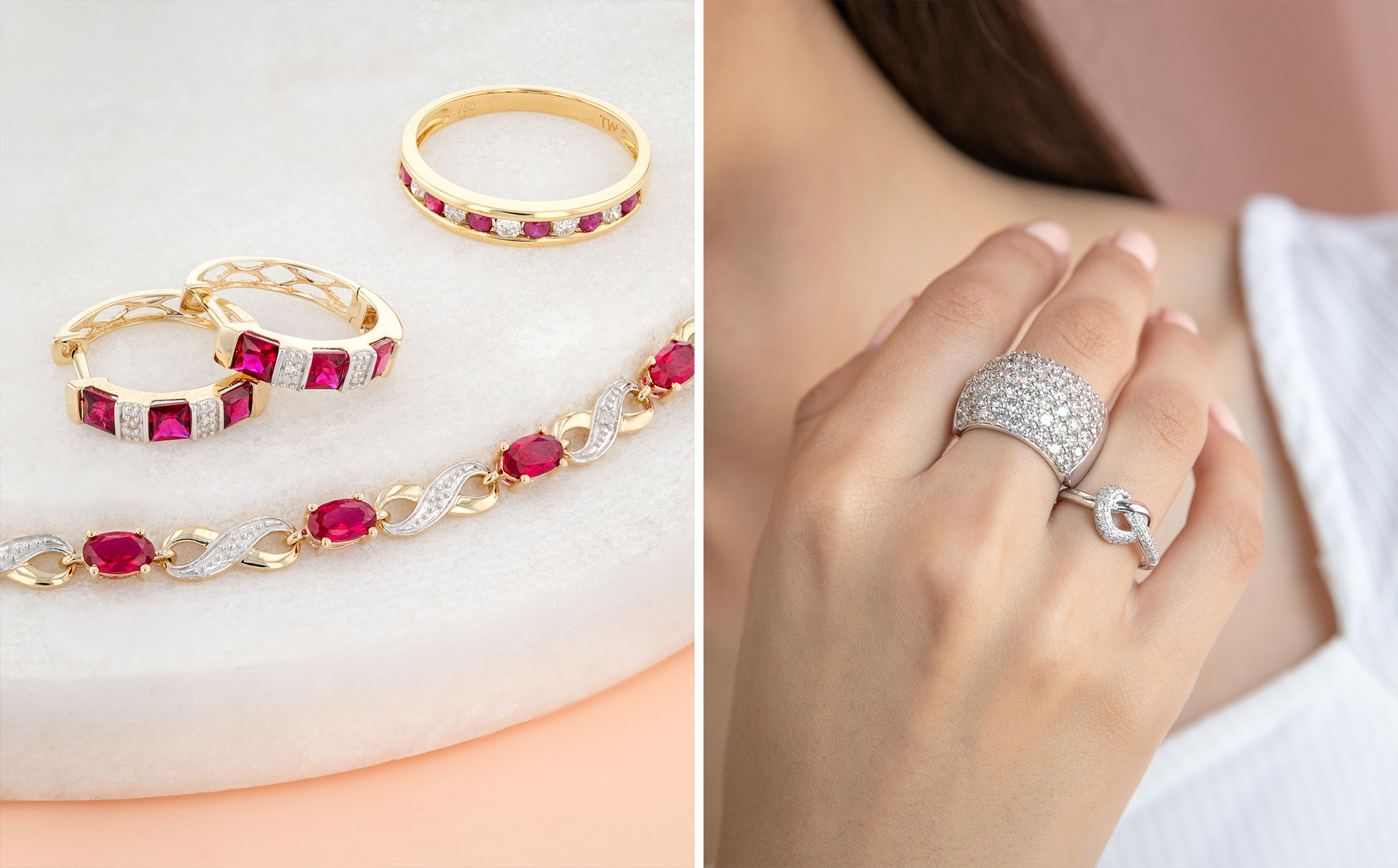 how to wear multiple diamond rings: wear different sizes
